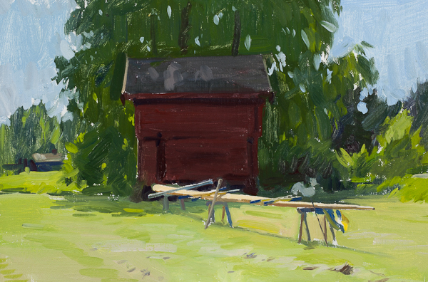 Plein air landscape painting of Preparing the Maypole for midsummer in Sweden.