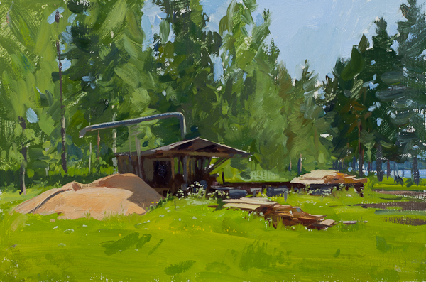 Plein air landscape painting of a Sawmill near Laknäs, Sweden.