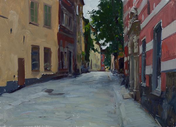 Oil painting of Slälagårdsgatan street in Stockholm