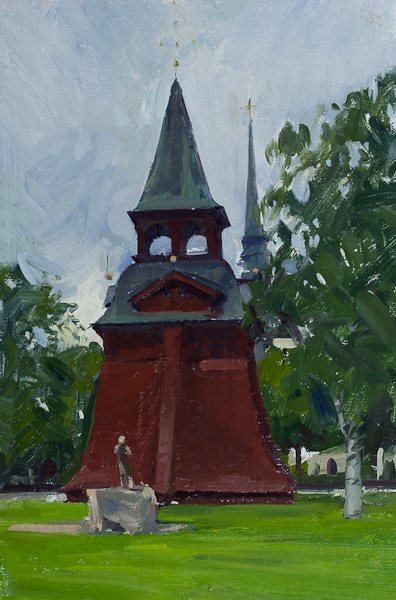 Oil painting of the bell tower in Mora, Sweden.
