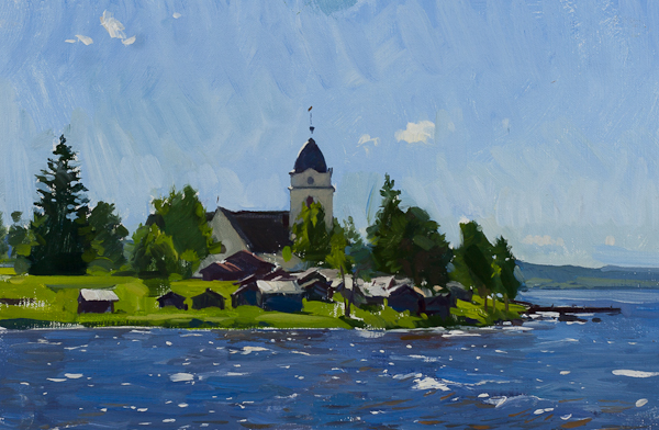 Plein air landscape painting of the Church at Rättvik.