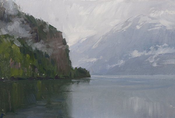 Oil painting of Hardanger Fjord, Norway.