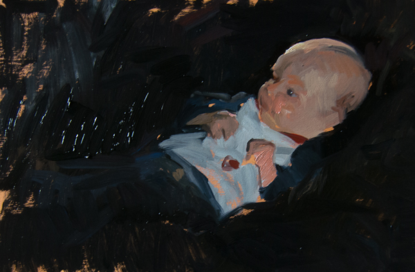 Oil painting of a newborn child.
