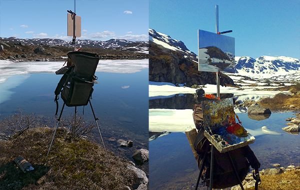 plein air landscape painting in Telemark, Norway.