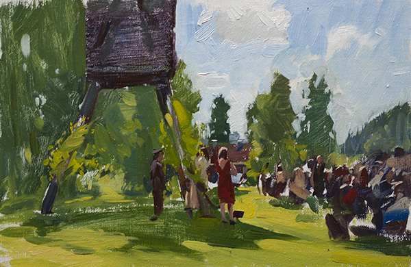 Oil painting of a wedding ceremony in Sweden.