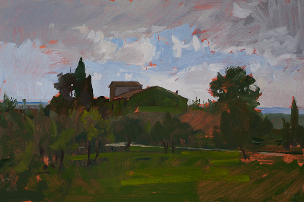 Sketch of a farmhouse in Tuscany.