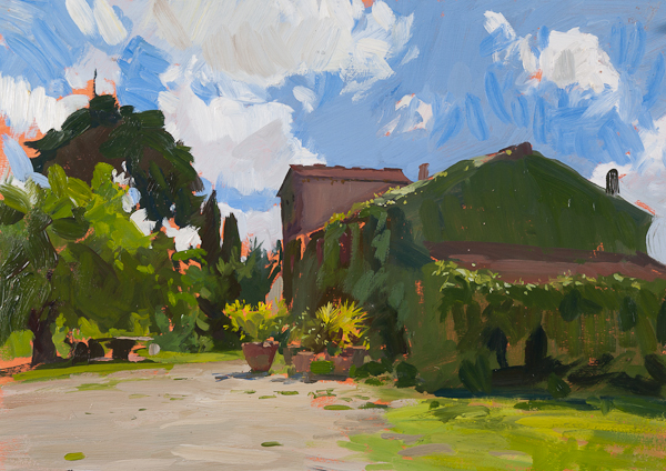 Oil painting of a farmhouse in Tuscany