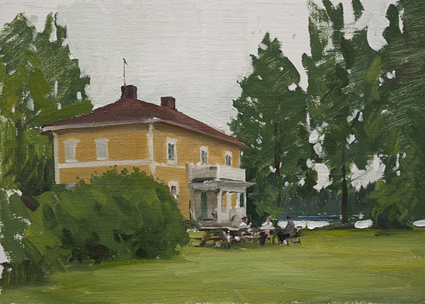 Oil painting of a wedding in Sweden.