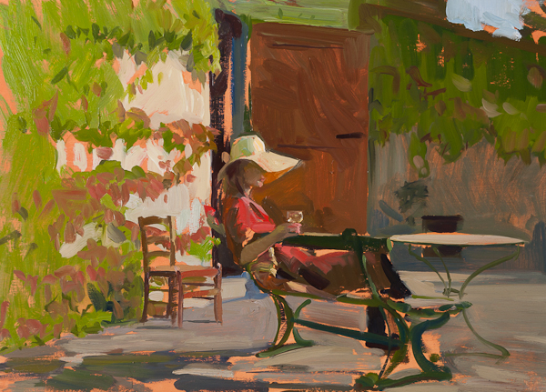 Oil painting of Tina with a glass of wine in Tuscany
