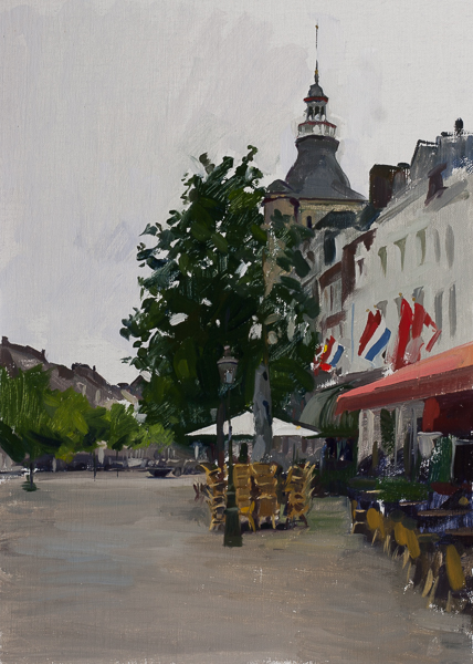 Painting of the Boschstraat, Maastricht.