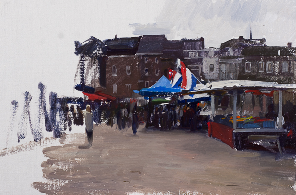 Plein air landscape of a herring stand in Maastricht.
