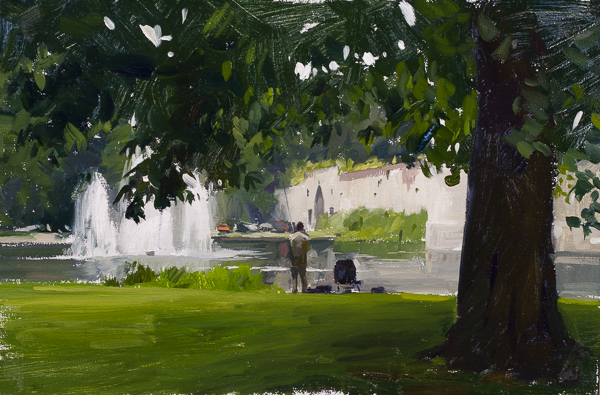 Painting of the Stadspark in Maastricht