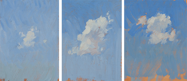 Plein air cloud studies from the Tuscan countryside.