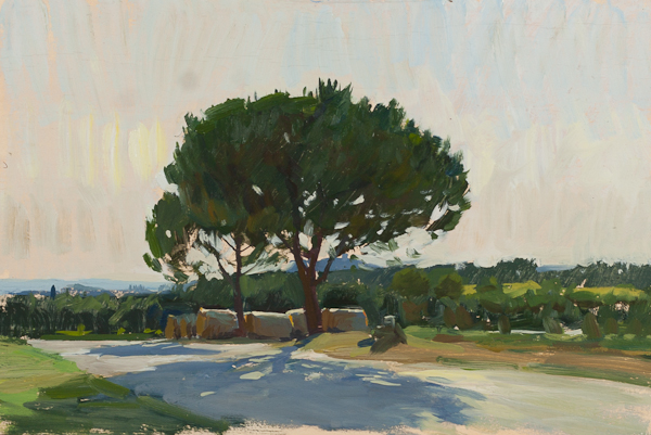 Plein air sketch of hay bales along a road in Chianti