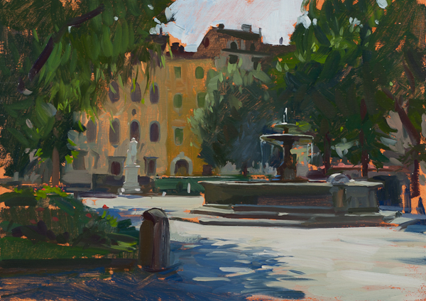 Plein air painting of piazza Santo Spirito, Florence