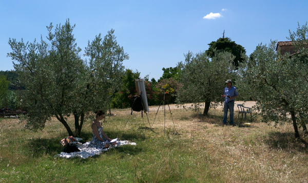 Plein air portraiture in Chianti