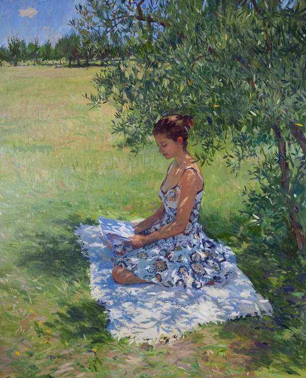 Plein air painting of a woman reading under an olive tree in Chianti.