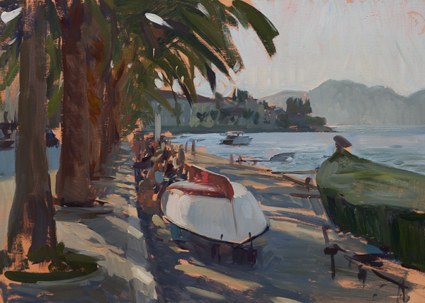 Plein air painting of boats on the island of Korcula, Croatia.
