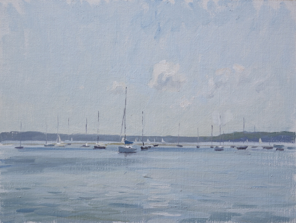 Plein air landscape of sailboats in Sag Harbor.
