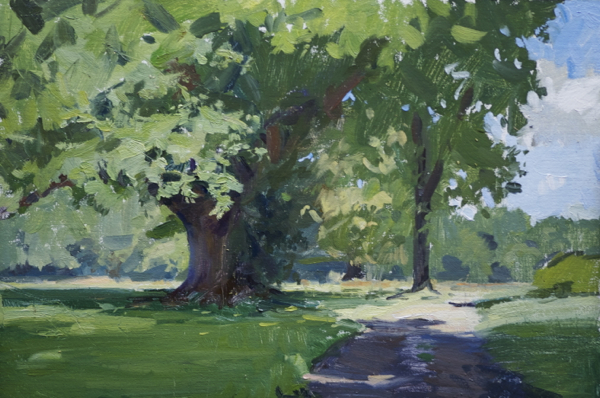 Landscape painting of an oak tree near Ballymore.
