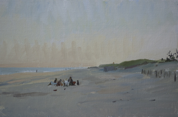 Plein air landscape of sunset on Gibson Beach, Long Island.