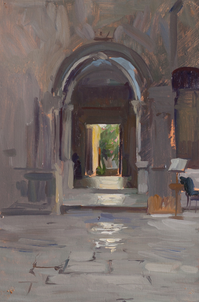 Plein air painting of a doorway on Korcula.