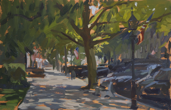 Plein air landscape painting of main street in Sag Harbor.