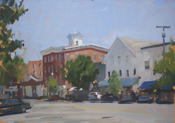 Plein air landscape painting of the municipal building in Sag Harbor.