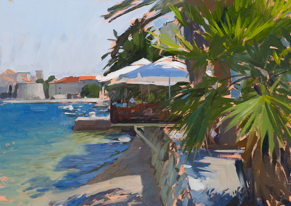 Plein air painting of a pizzeria on korcula, croatia