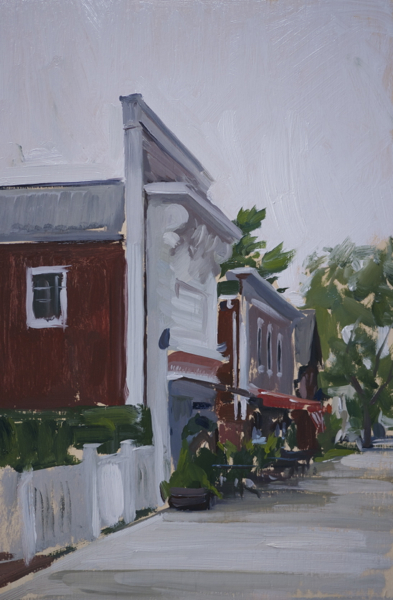 Plein air painting of storefronts in Sag Harbor, NY