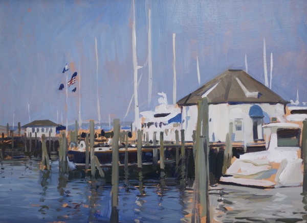 Plein air painting of the Sag Harbor Yacht Club.
