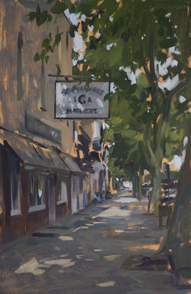 Plein air painting of the IGA in Sag Harbor