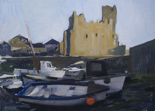 plein air painting of the harbor in Slade, Ireland
