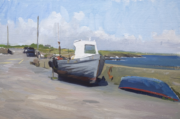 plein air sketch of a boat in Slade