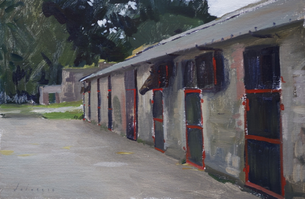 plein air painting of the stables at Newtownbarry House