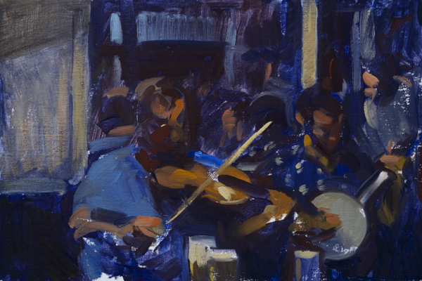 Painting of musicians in a pub in Ireland