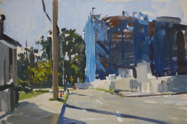 Plein air painting of the old watch factory in Sag Harbor.