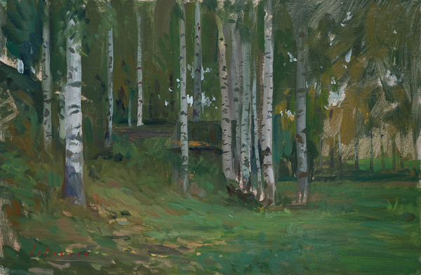 Plein air sketch of a grove of birch trees in Plyos, Russia.