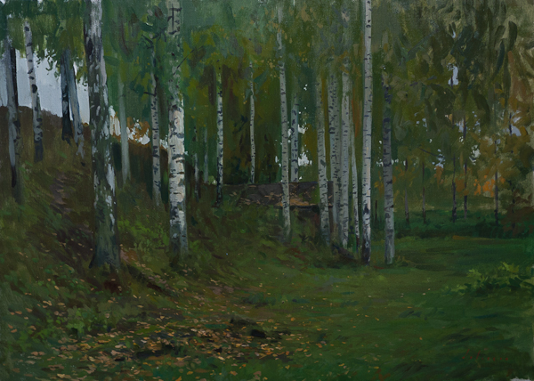 Oil painting of a birch grove in Plyos, Russia.