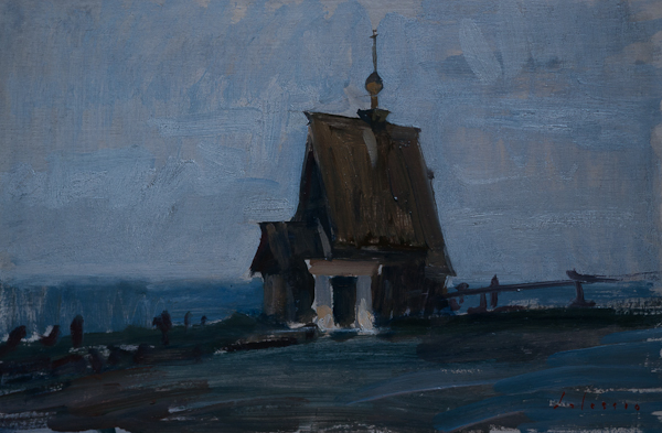 Oil painting of the little wooden church above Plyos, Russia.