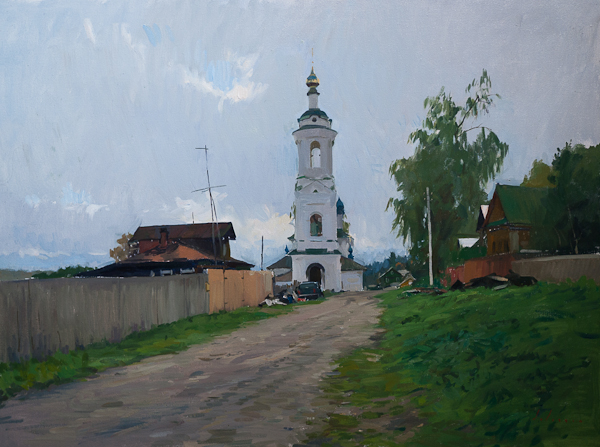 Landscape painting of a street in Plyos, Russia