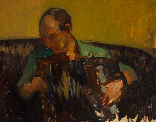 Oil painting of an accordion player in Russia.