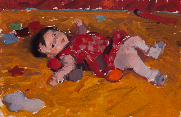 Oil painting of a toddler