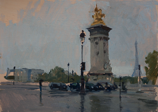 Plein air landscape painting of Pont Alexandre III in the rain in Paris