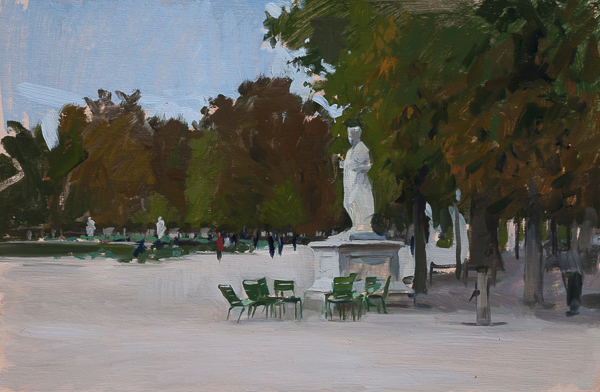 Landscape painting of a statue in the Tuileries Gardens, Paris
