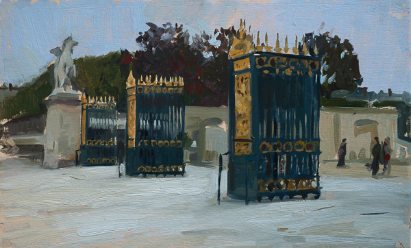Plein air landscape painting of the gates to the Jardin des Tuileries in Paris