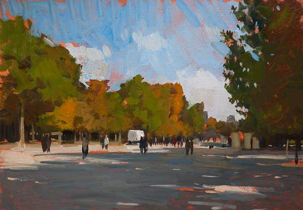Tuileries in Fall Plein Air Painting in the Tuileries Gardens, Paris