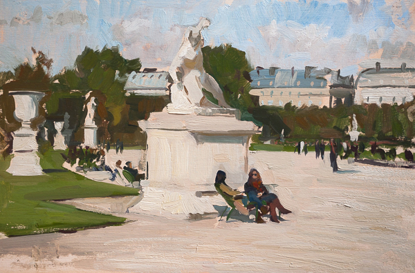Plein air painting of two friends talking in the Tuileries Gardens, Paris.