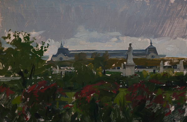 Plein air painting of the Musee d'Orsay in Paris.