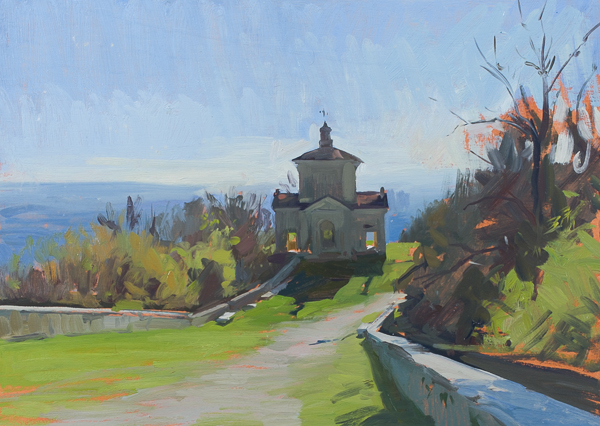 Plein air painting of Sacro Monte, Varese.